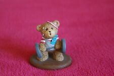 "Russ Berrie - ""One Tough Teddy"" Ceramic Weight Lifter Bear - Handpainted"