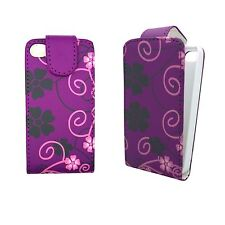 CASE FOR APPLE IPHONE 4/4S PURPLE PINK AND BLACK FLOWER SWIRL DESIGN FLIP COVER