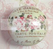 PINK ROSES perfume FRENCH SCRIPT Ceramic Knob Flowers Cabinet Drawer Pull pretty