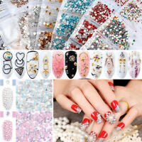 Nail Art Rhinestones Flat Back Glitter Crystal Gems 3D Tips Colorful Decoration
