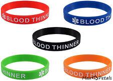 5 Pack - BLOOD THINNER Silicone Medical Alert Bracelets Safety