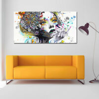 Frameless Colourful Lady Oil Painting Paint by Numbers Canvas Print Wall Art Hot