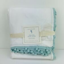 Pottery Barn Kids Pom Pom Duvet Cover Aqua Full Queen