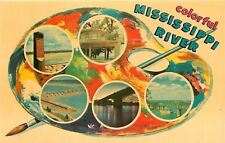 Great Mississippi~Artist's Palette: Riverboat, Bridges, Monuments 1963 Postcard