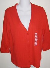Studio Works Cotton Blend  Red Cable Knit Button Front Cardigan S  NWT