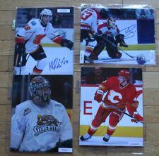 4 Autographed Calgary Flames Photos COA FREE SHIP Reinhart Moss Irving Baertschi