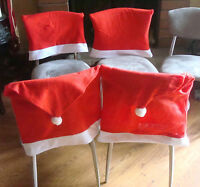 4 Santa Clause Red Hat Chair Back Cover Christmas Dinner Table Home Decor