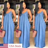US Stock Plus Size Boho Backelss Summer Long Denim Maxi Dress Women Jean Dresses