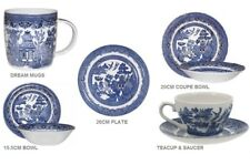 CHURCHILL BLUE WILLOW CHINA PLATE MUG TEA CUP SAUCER BOWL DINNER SET OF SIX