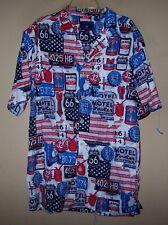 Men's Medium 7158 SADDLEBRED Blue Red HAWAIIAN Shirt ROUTE 66 Signs OIL Gas