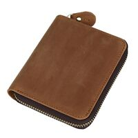 Men's Real Leather Wallet Bifold Zip Around Money Clip Photo Credit Card Brown