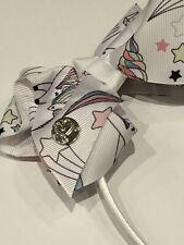 JoJo Siwa Bow Headband - White Unicorn & Stars