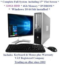 "Fast Cheap HP Core 2 Windows 10 Complete Set 17"" Monitor Desktop Computer PC"