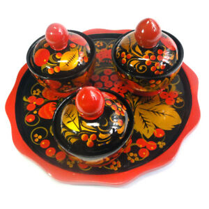 Set For Spices Wooden Russian Khokhloma Hand-painted Handmade Kitchen New 1 pc