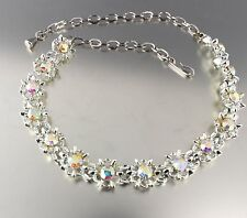 VINTAGE SILVER TONE CRYSTAL GLASS RHINESTONE BEAD BIB CHOKER NECKLACE