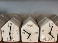 Rae Dunn By Magenta Ceramic Birdhouse HOME, WELCOME or NUMBER Clock HTF