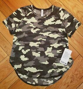 Lululemon UVP Run Short Sleeve Shirt Camo Green Size 10 NWT