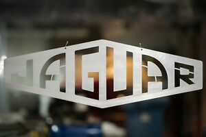 Jaguar wall sign - 1950's style - Brushed Stainless Steel Finish