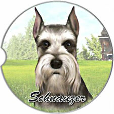 E&S Pets Absorbent Car Coaster Dog Breed Stoneware Schnauzer Cropped Ears Pup