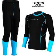 Ladies Compression Thermal Base Layer Tights Shirt Under Suit Long Pant M Black/cyan