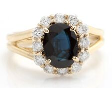 3.00 Carat Natural Sapphire and Diamonds in 14K Solid Yellow Gold Women's Ring