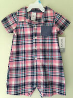 NWT Carter's Adorable Baby Boy Pink Blue Plaid One Piece Shirt Bodysuit 6 M $28