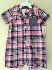 NWT Carter's Adorable Baby Boy Pink Blue Plaid One Piece Shirt Bodysuit 6 M $28