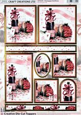 A4 DIE CUT 3D FOILED CARD TOPPER SHEET PAPER TOLE CHAMPAGNE & ROSES CDT567G