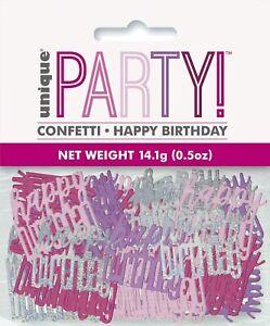 Happy Birthday Pink Glitz Confetti