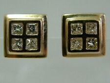 LOVELY 9CT YELLOW GOLD PRINCESS-CUT DIAMOND EARSTUDS EARRINGS - 0.40CARATS