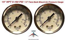 "2 Air Compressor Pressure/Hydraulic Gauge 1.5"" Face Back Mnt 1/8"" NPT 0-160 PSI"