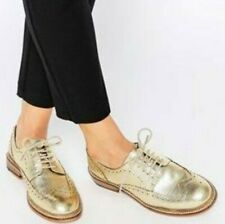 BNWOB ASOS women's gold metallic lace up leather brogues flat shoes szUS8