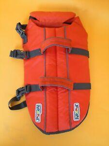 OUTWARD HOUND Sz Medium Dog Life Jacket Vest Flotation Device With Handle Orange