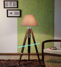 VINTAGE DESIGNER NAUTICAL TRIPOD FLOOR LAMP STAND MODERN LAMP SHADE HOME DECOR