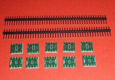 10x SOIC 8 DIP8 Adapter Platine SMD 0,65 1,27mm Konverter SO 8 SOP 8 TSSOP8 +PIN