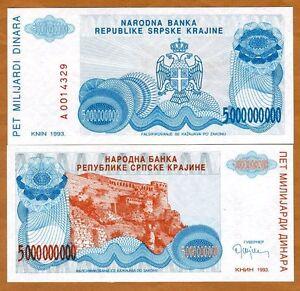 Croatia, Knin 5,000,000,000 (5000000000) Dinara, 1993, P-R27, UNC > Bosnian War
