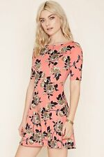 FOREVER 21 Fit & Flare Floral Dress Coral Grey Womens Size Small