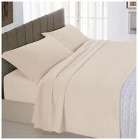 Completo letto matrimoniale 2 piazze beige cotone set lenzuola federe biancheria