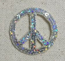 Peace Sign - Silver Sequin - Iron on Applique/Embroidered Patch