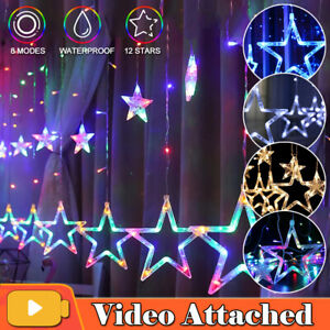 Christmas LED Curtain Twinkle Star Fairy String Lights Window In& Outdoor Party