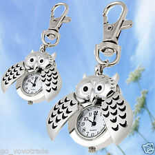 New Men's Women's Vintage Casual Metal Owl Key Ring Quartz Analog Watches Silver