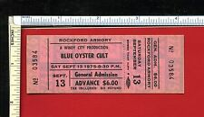 BLUE OYSTER CULT 1975 Unused Concert Ticket; Rockford, IL Armory 9/13/75; v rare