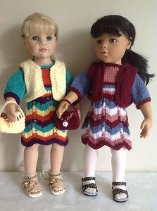 "Dolls Fashion clothes knitting  pattern. 18"" doll. Dress, bolero and bag.KNM66"