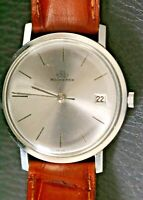 Vintage Bucherer 30.71 Silver Tone Automatic Men's Swiss Watch With Date Window