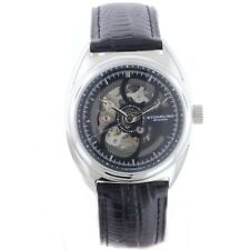 Stuhrling Automatic Men's Skeleton Watch Silver Case Black Dial GP12389 - New