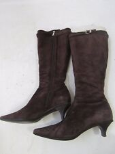Prada Brown Suede Pointed Toe Knee High Kitten Heel Boots Size 38
