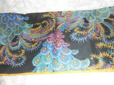 Very Rare vintage Silk Peacock Scarf China Japanese lettering words some fraying