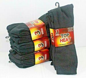 Mens Plain Black Thermal Socks Midcalf Top Heat Sox Thick Boot Sock Lot UK 6-11