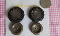 2 Pairs Designs of 4 Vintage Brown Shank & 2 hole Coat Cloak 28 & 38mm Buttons