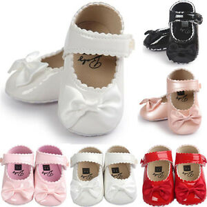 Baby Girl Bow Anti-slip Leather Christening Pram Shoes Soft Sole Sneaker Tw1 x o